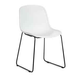 Scaun din plastic, cu picioare metalice Cosmo White, l57xA54xH78cm