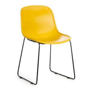 Scaun din plastic, cu picioare metalice Cosmo Yellow, l57xA54xH78cm