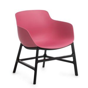 Scaun din plastic, cu picioare metalice Ines Pink, l63xA62xH70cm