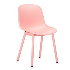 Scaun din plastic, cu picioare metalice Odyn Pink, l57xA54xH78cm