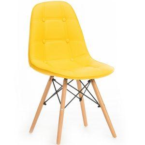 Scaun tapitat cu piele ecologica, cu picioare de lemn Stag Yellow, l55xA48xH83 cm