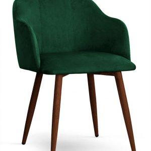 Scaun tapitat cu stofa, cu picioare metalice Danez Verde / Nuc, l56xA60xH80 cm