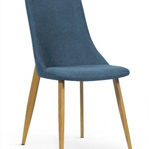 Scaun tapitat cu stofa, cu picioare metalice Eliza Blue / Oak, l45xA60xH91 cm
