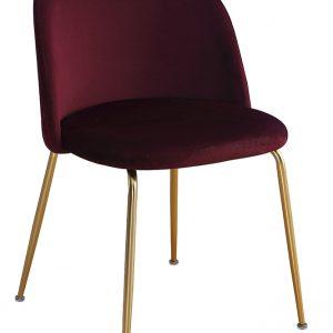 Scaun tapitat cu stofa, cu picioare metalice Forli Burgundy / Gold, l50xA52xH78 cm