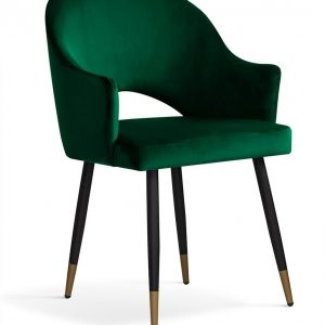 Scaun tapitat cu stofa, cu picioare metalice Goda Green / Black / Gold, l54xA58xH87 cm