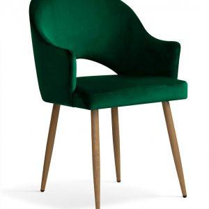 Scaun tapitat cu stofa, cu picioare metalice Goda Green / Oak, l54xA58xH87 cm