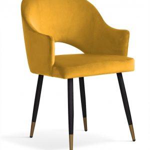 Scaun tapitat cu stofa, cu picioare metalice Goda Honey / Black / Gold, l54xA58xH87 cm