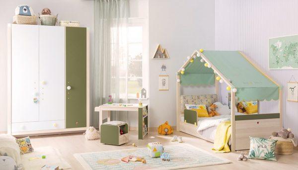 Set Mobila dormitor din pal, pentru copii 5 piese Montessori New Natural / Verde, 200 x 90 cm