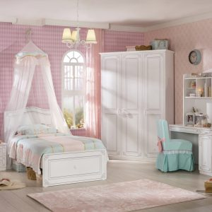 Set Mobila dormitor din pal, pentru tineret 5 piese Selena Alb