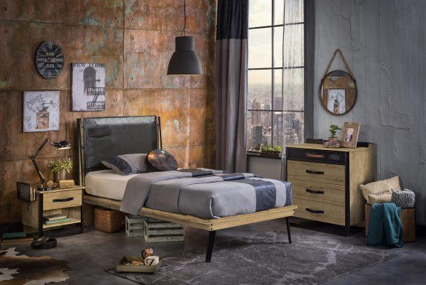 Set Mobila dormitor din pal si metal, pentru tineret 3 piese Wood Metal Natural / Negru, 200 x 100 cm