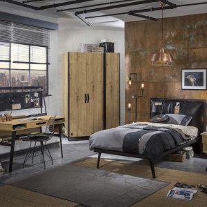 Set Mobila dormitor din pal si metal, pentru tineret 5 piese Wood Metal Natural / Negru, 200 x 120 cm