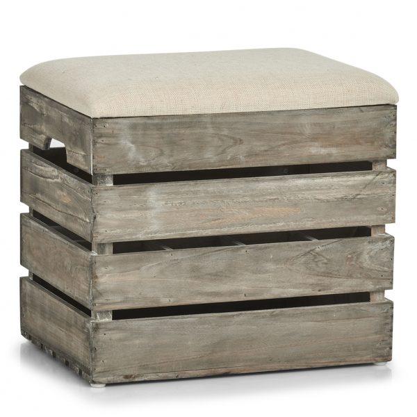 Taburet din lemn cu spatiu de depozitare, Wood Natural, l40xA29,5xH37 cm