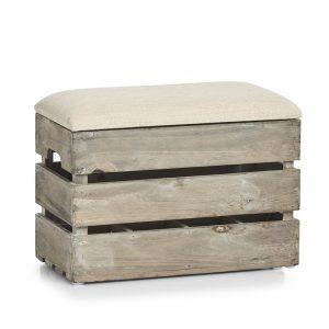 Taburet din lemn cu spatiu de depozitare, Wood Small Natural, l40xA20,5xH29 cm