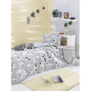 Lenjerie de pat din bumbac ranforce pentru pat de 1 persoana Mijolnir Liana Grey, 140 x 200 cm