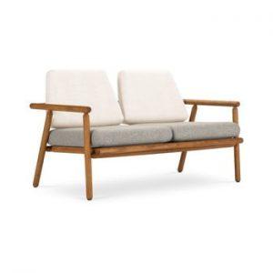 Canapea cu 2 locuri pentru exterior, constructie lemn masiv de salcam Calme Jardin Capri Premium, alb - gri