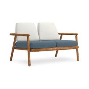 Canapea cu 2 locuri pentru exterior, constructie lemn masiv de salcam Calme Jardin Capri, gri deschis - albastru inchis