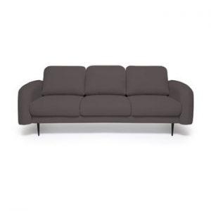 Canapea cu 3 locuri Vivonita Skolm, gri antracit