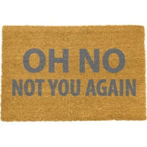 Covoras intrare din fibre de cocos Artsy Doormats Oh No Not You Again Grey, 40 x 60 cm