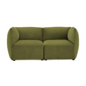 Canapea modulara cu 2 locuri Vivonita Velvet Cube, verde masliniu