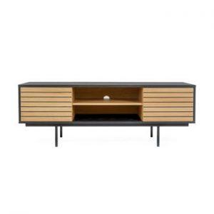 Masa TV din lemn de stejar Woodman Stripe