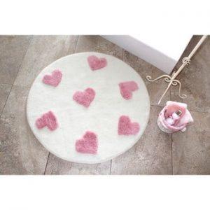 Covor Confetti Bathmats Molia, Ø 90 cm, alb - roz