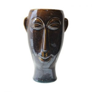 Vaza din portelan PT LIVING Mask, inaltime 27,2 cm, maro inchis