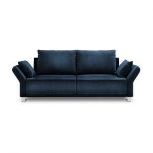 Canapea extensibila cu invelis de catifea cu 3 locuri Windsor & Co Sofas Pyxis, albastru