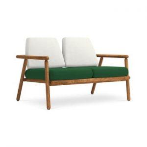 Canapea cu 2 locuri pentru exterior, constructie lemn masiv de salcam Calme Jardin Capri, gri deschis - verde inchis