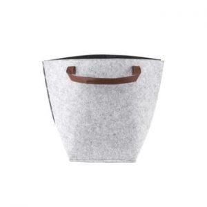 Cos pentru depozitare cu manere din piele, PT LIVING Storage, inaltime 42 cm, gri