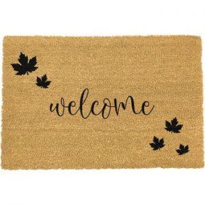 Covoras intrare din fibre de cocos Artsy Doormats Welcome Autumn, 40 x 60 cm, negru