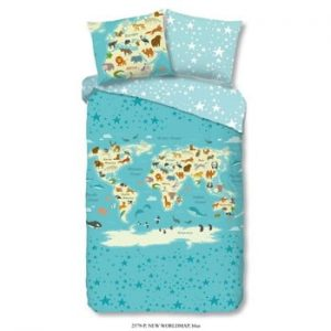 Lenjerie de pat din bumbac pentru copii Goog Morning Worldmap, 140 x 200 cm