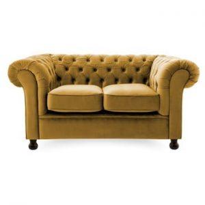 Canapea cu 2 locuri Vivonita Chesterfield, mustar