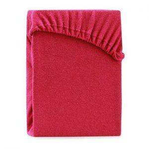 Cearsaf elastic pentru pat dublu AmeliaHome Ruby Maroon, 180-200 x 200 cm, rosu