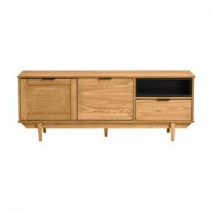 Comoda TV din lemn de pin si cu sertare din ratan Marckeric Dakar, latime 140,4 cm, maro