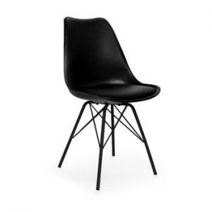 Set 2 scaune cu picioare negre din metal loomi.design Eco, negru