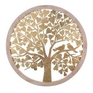 Decoratiune pentru perete Mauro Ferretti Tree, ø80cm, auriu
