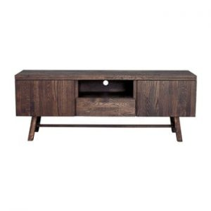 Stand din lemn de stejar pentru TV Rowico Heimdal, maro inchis