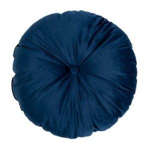 Puf din catifea House Nordic Luso, ø 45 cm, albastru