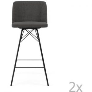 Set 2 scaune de bar Tenzo Tom, inaltime 99 cm, gri antracit