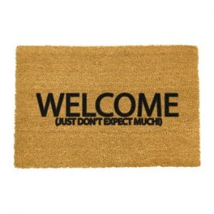 Covoras intrare din fibre de cocos Artsy Doormats Welcome Don't Expect Much, 40 x 60 cm