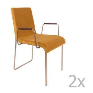 Set 2 scaune cu cotiere Dutchbone Fiore, galben
