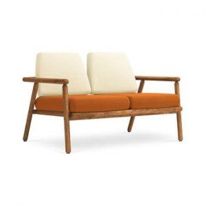 Canapea cu 2 locuri pentru exterior, constructie lemn masiv de salcam Calme Jardin Capri, bej - portocaliu