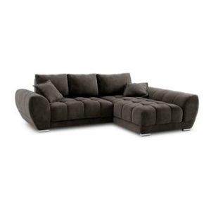 Canapea extensibila cu invelis de catifea Windsor & Co Sofas Nuage, pe partea dreapta, maro inchis