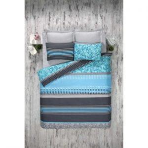 Lenjerie si cearsaf din amestec de bumbac pentru pat dublu Miranda Turquoise, 200 x 220 cm