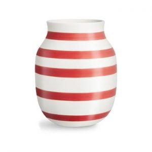 Vaza din ceramica Kähler Design Omaggio, inaltime 20,5 cm, alb-rosu