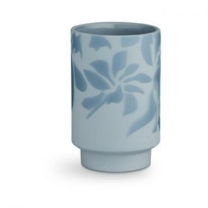 Vaza din gresie Kähler Design Kabell, inaltime 12,5 cm, albastru deschis