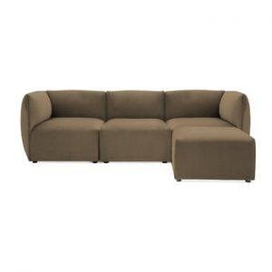 Canapea modulara cu 3 locuri si suport pentru picioare Vivonita Velvet Cube, maro - gri