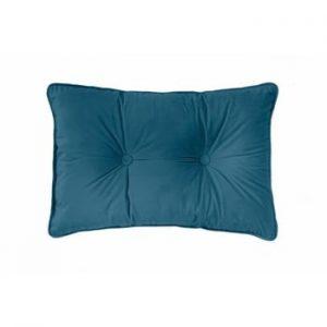 Perna Tiseco Home Studio Velvet Button, 40x60cm, albastru inchis