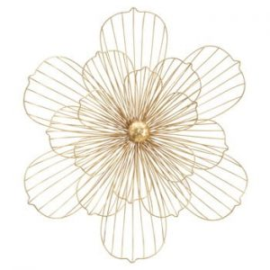 Decoratiune pentru perete Mauro Ferretti Flower Stick, 60x54cm, auriu