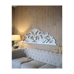 Decoratiune de perete din lemn de mango Orchidea Milano Testata Antique, lungime 180 cm, alb